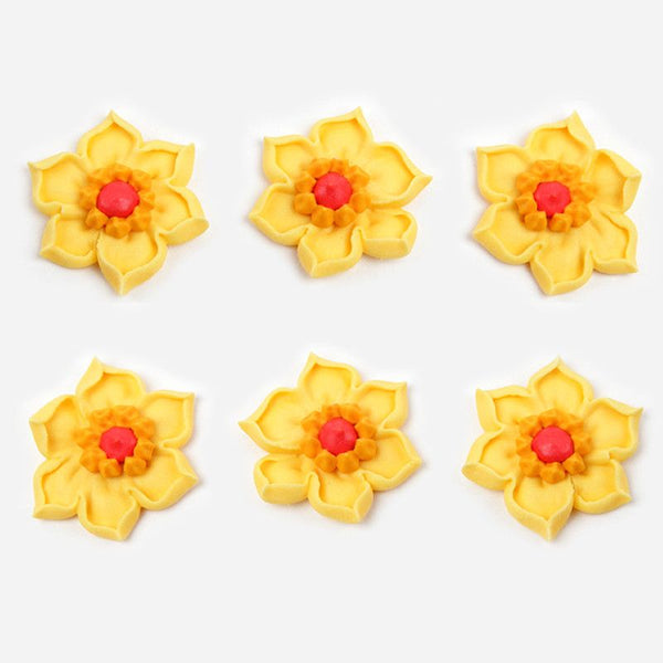 Daffodil Royal Icing Decorations - Yellow