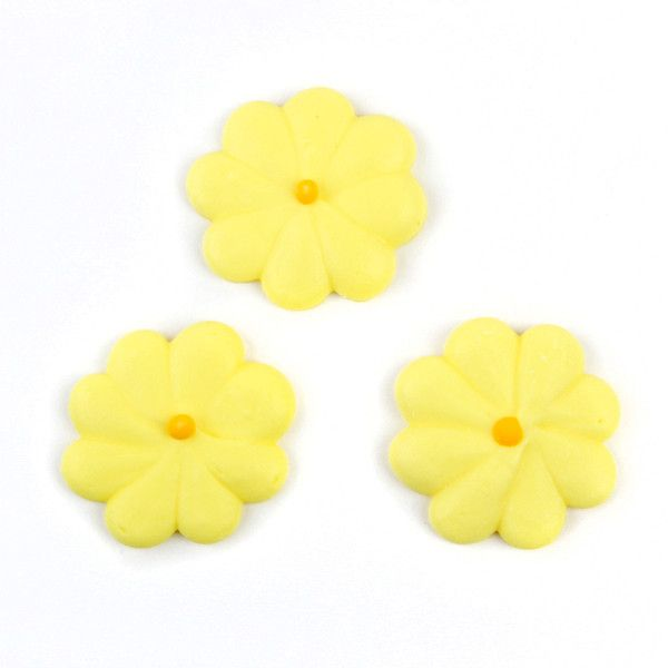 Medium Flower Power Royal Icing Decorations - Yellow