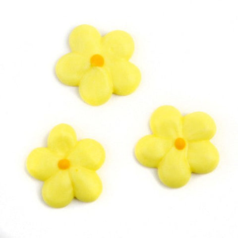 Mini Flower Power Royal Icing Decorations - Yellow