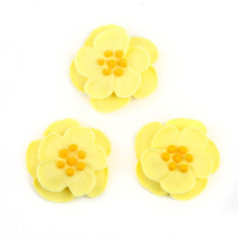 Dainty Bess Tea Rose Royal Icing Decorations - Yellow