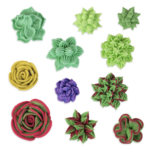 Succulent Royal Icing Toppers for decorating your own cupcakes, chocolates, cookies, cakes, and other edible desserts.  Edible hand piped icing designs, ready to use.