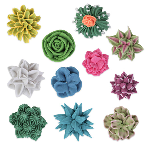 3D Succulent Set 2 Royal Icing Decorations (Bulk)