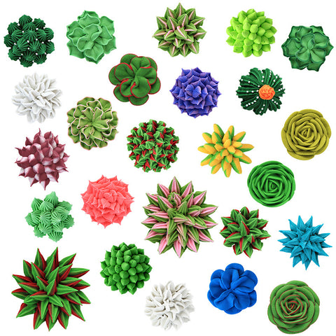 Extra Large 3D Succulent Set Royal Icing Decorations (Bulk)