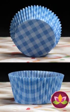 Gingham Baking Cups - Blue