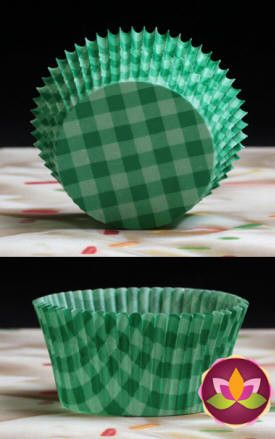 Gingham Baking Cups - Green