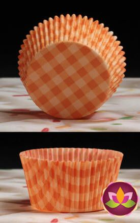 Gingham Baking Cups - Orange