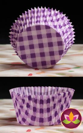 Gingham Baking Cups - Purple