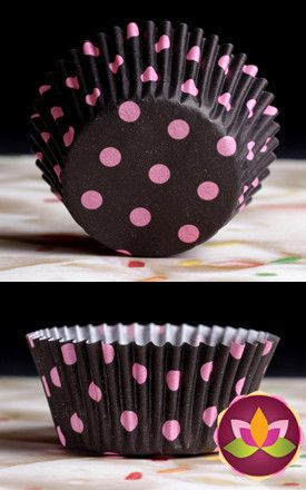 Polka Dots Baking Cups - Black & Pink