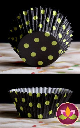 Polka Dots Baking Cups - Black & Lime