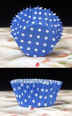 Polka Dots Baking Cups - Blue & White