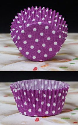 Polka Dots Baking Cups - Purple & White