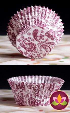Paisley Baking Cups - Burgundy