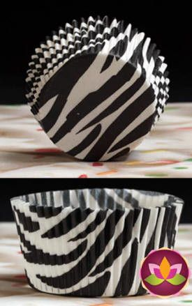 Zebra Print Baking Cups - Black & White