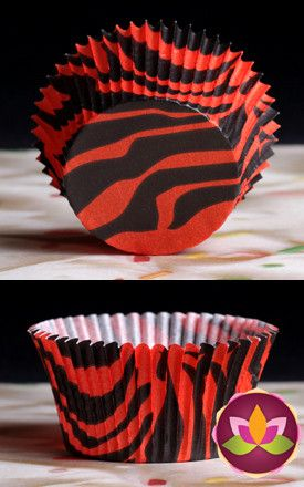 Zebra Print Baking Cups - Red