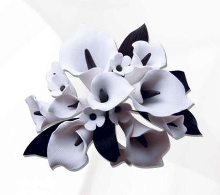 Medium White & Black Calla Lily Cake Topper