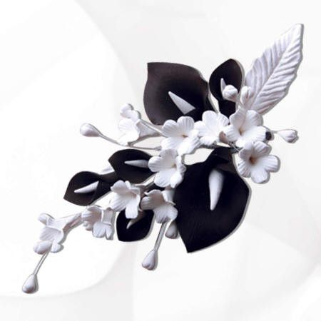 Large Black & White Calla Lily Spray Cake Topper