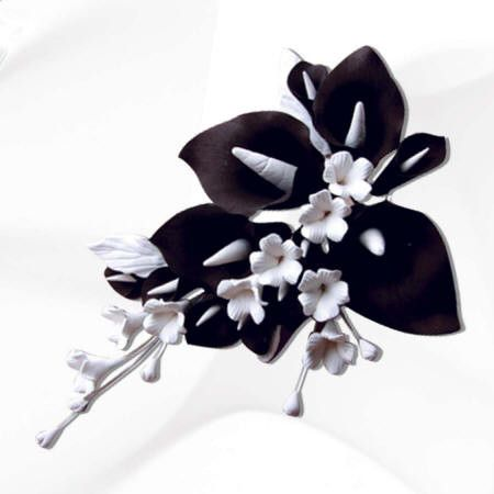 Small Black & White Calla Lily Spray Cake Topper
