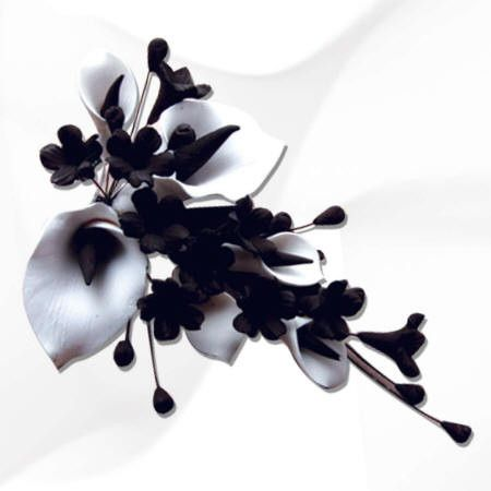 Small White & Black Calla Lily Spray Cake Topper