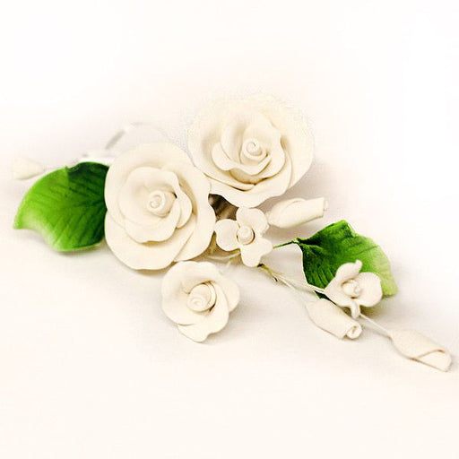 Three Small Tea Rose Sprays - White