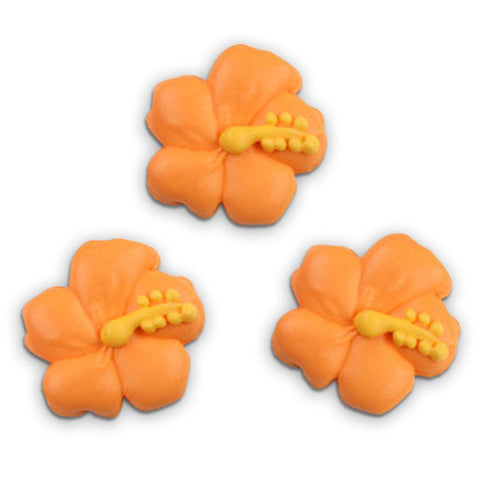 Hibiscus Flower Royal Icing Decorations - Orange (Tub)