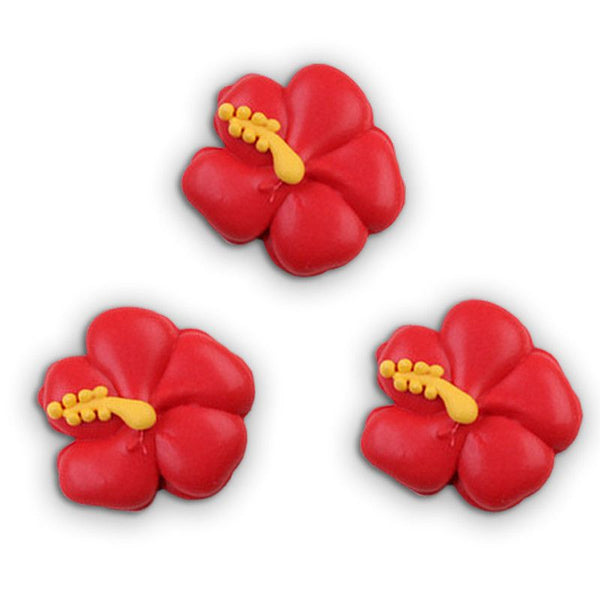 Hibiscus Flower Royal Icing Decorations - Red (Tub)