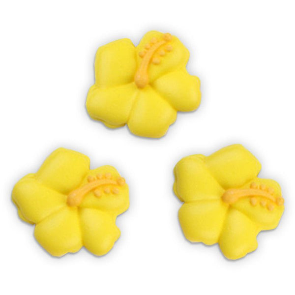 Hibiscus Flower Royal Icing Decorations - Yellow (Tub)