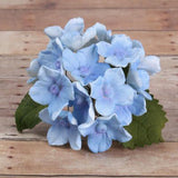 Blue Hydrangeas and Leaves sugarflowers from gumpaste cake decorations perfect for cake decorating fondant cakes as a cake topper.  Wholesale bakery supplies.