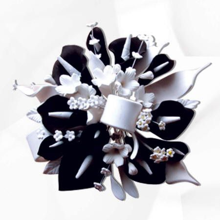 Black and White Gumpaste Flowers