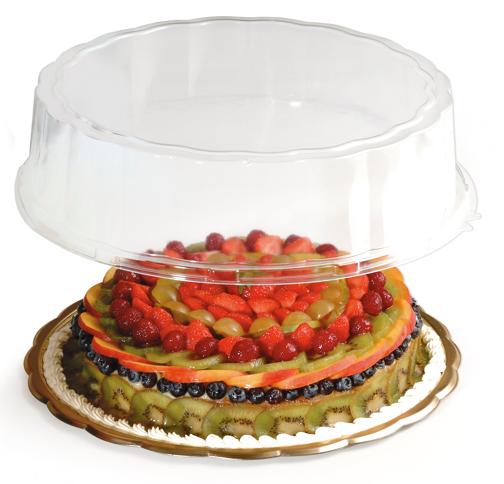 Round Medoro Pastry Tray Lids great for pastries, sandwiches, cakes, cupcakes, appetizers, hors d'oeuvres, cookies, brownies, sushi, savory items, and other edible food products. Wholesale food protection for bakery and restaurants.
