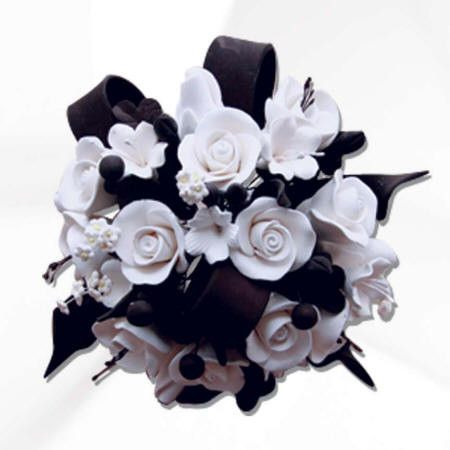 White & Black Lucianthys Ribbon Cake Topper