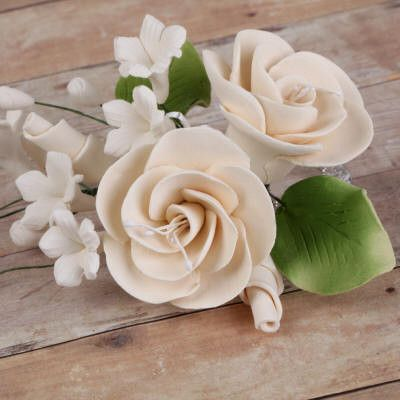 Ivory Gumpaste Dog Rose Spray Cake Decoration perfect for cake decorating rolled fondant wedding cakes, buttercream birthday cakes, & cupcakes.  Wholesale cake decorations & cake decorating supply. Small Dog Rose Sprays - Ivory