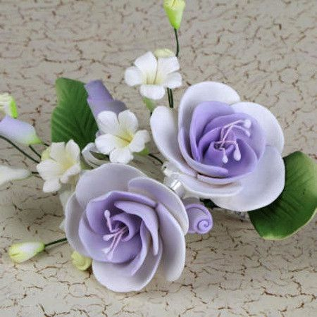 Lavender Gumpaste Dog Rose Sugarflower Spray Cake Decoration perfect for cake decorating rolled fondant wedding cakes, buttercream birthday cakes, & cupcakes.  Wholesale cake decorations & cake decorating supply. Small Dog Rose Sprays - Lavender Purple