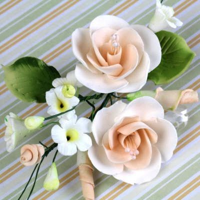 Peach Gumpaste Dog Rose Spray Cake Decoration perfect for cake decorating rolled fondant wedding cakes, buttercream birthday cakes, & cupcakes.  Wholesale cake decorations & cake decorating supply. Small Dog Rose Sprays - Peach