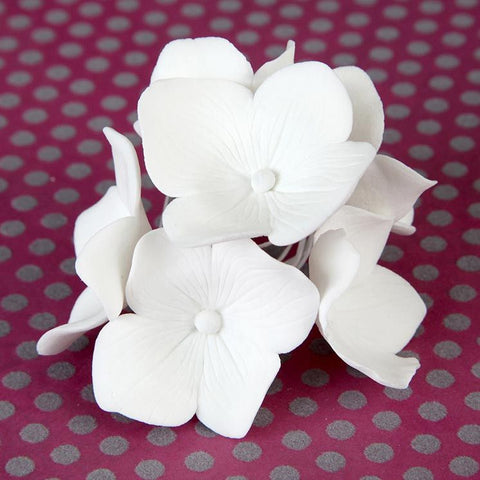 Hydrangea Sugarflower from gumpaste perfect as a cake topper for cake decorating fondant cakes and wedding cakes.  Baking and cake supply.