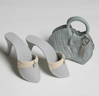 Grey and White Purse and Sandal Set