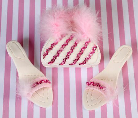 White and Pink with feathers Purse and Sandal Set
