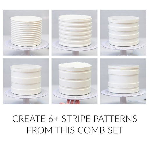 "Acrylic Icing Combs provide ribbon patterns when used as a scraper when frosting your buttercream cakes.  Achieve that detailed ""ribbon"" or layered look with these versatile patterned icing combs."