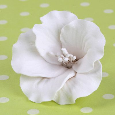 White Azalea blossom sugarflower made from gumpaste.  Cake decoration.  Wholesale cake supply.  Caljava Bakery Supply.