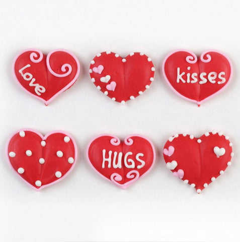 Valentine Heart Royal Icing Decorations (Bulk)