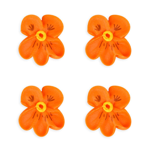 Small Pansy Royal Icing Decorations (Bulk) - Orange