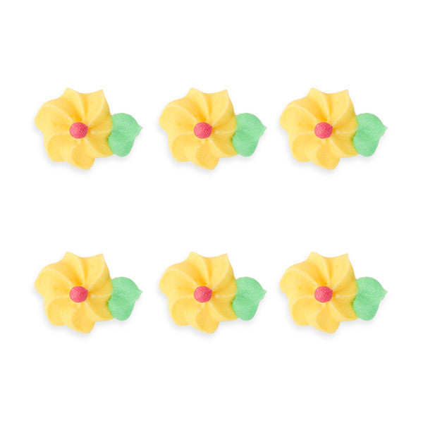 Small Drop Flower w/ Leaves Royal Icing Decorations (Bulk) - yellow