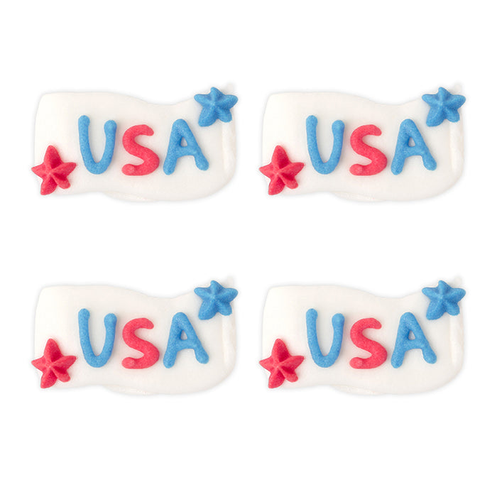 4th of July Royal Icing Toppers great for decorating cupcakes, cookies, cakes, candy and chocolates.
