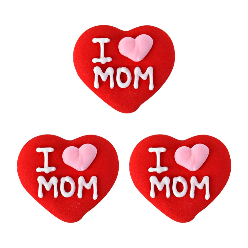 I Love Mom Heart Royal Icing Decorations (Bulk)