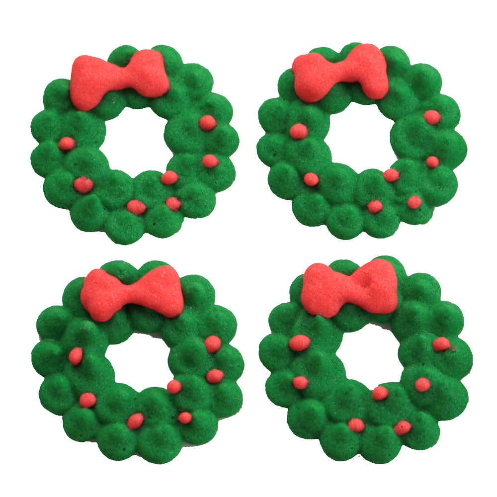 Christmas Wreath Royal Icing Edible Sugar Toppers great for decorating cakes, cupcakes, chocolates, and more.