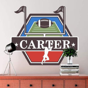 5f216a15db Custom Football Wall Decals | Removable Wallpaper Stickers | Design with  your name and team colors