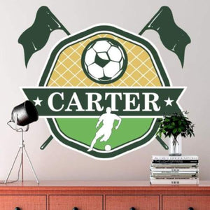 Custom Soccer Wall Decals Removable Wallpaper Stickers Design With Your Name And Team Colors