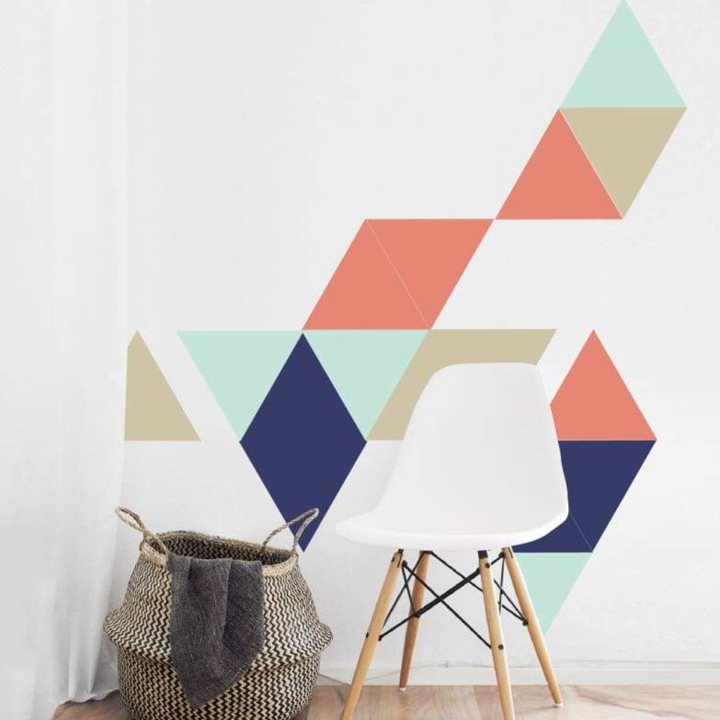 Triangle Wall Decals | Navy Coral Turquoise