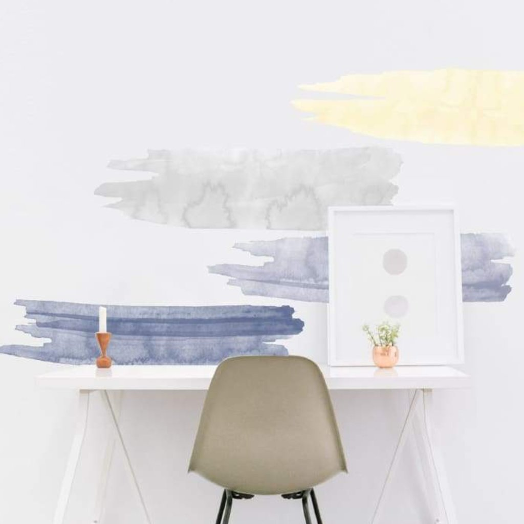watercolor ombre peel stick removable wallpaper stickers yellow blue gray sun on the lake 2 5kids 6 12kids apartment walls bedroom decoration picture