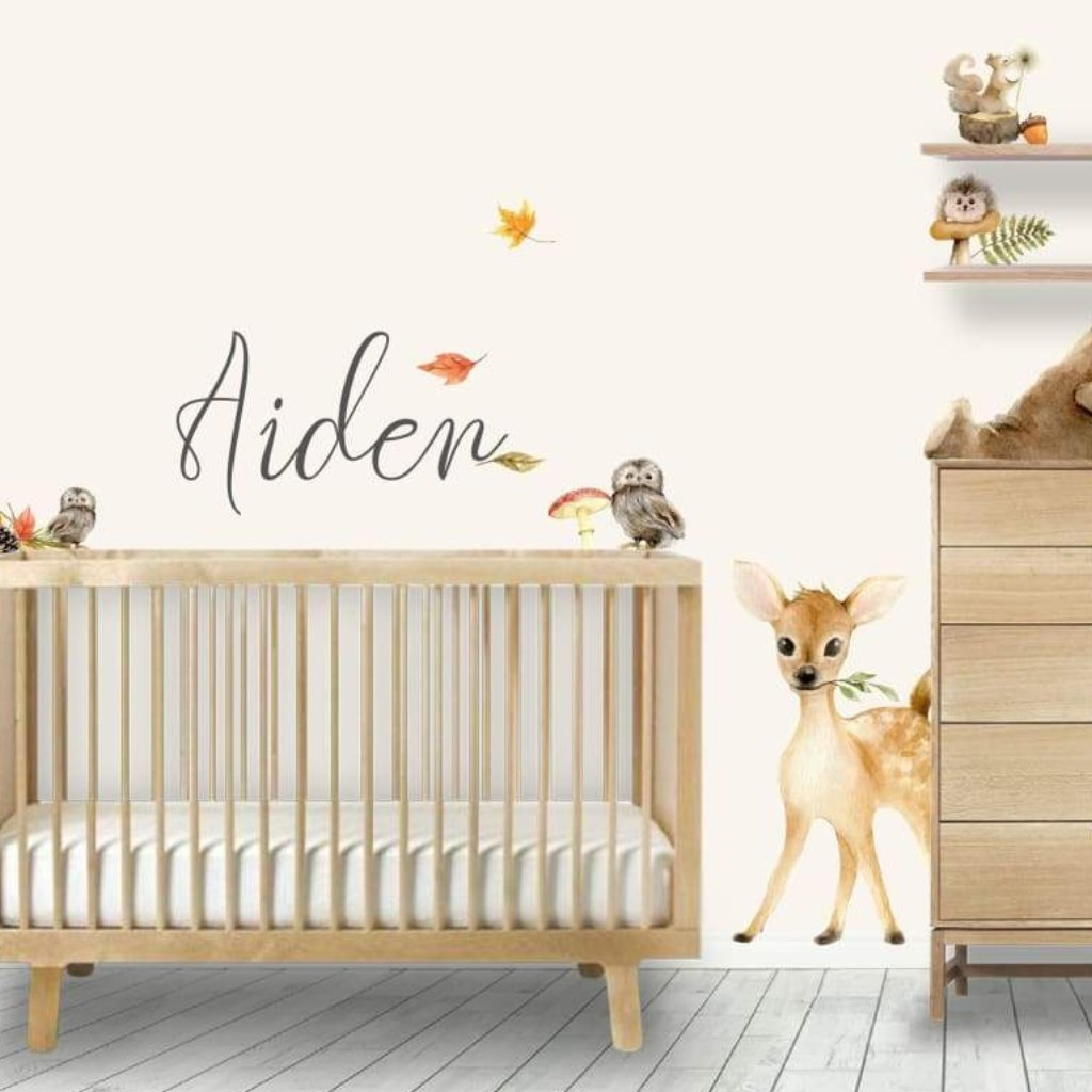 Woodland Forest Animals Nursery Baby Room With Autumn Leaves and Pinecones