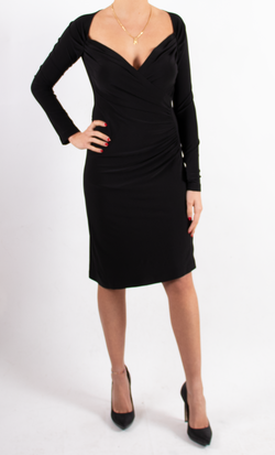 Long Sleeve SweetHeart Side Drape Dress